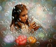 Soap Bubble Prints - Soap Bubble Girl Print by Yoo Choong Yeul