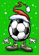 Sport Prints - Soccer Christmas Print by Kevin Middleton