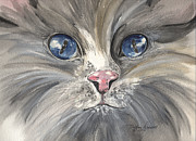 Gray Cat Paintings - Soda by Meldra Driscoll