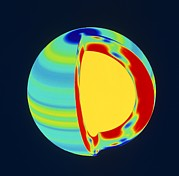 Mdi Posters - Soho Image Of Solar (sun) Rotation Rate With Depth Poster by Nasa