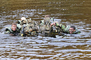 Head Above Water Posters - Soldiers Participate In A River Poster by Andrew Chittock