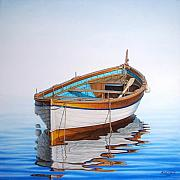 Fishing Painting Prints - Solitary Boat on the Sea Print by Horacio Cardozo