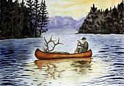 Canoe Drawings Posters - Solitude Poster by Jimmy Smith