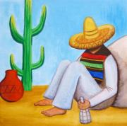 Poncho Framed Prints - Sombrero Framed Print by Lucy Deane