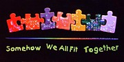 Diversity Glass Art Prints - Somehow We All Fit Together Print by Mark Lubich