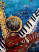 Violins Paintings - Soulful Blues by Cheryl Ehlers