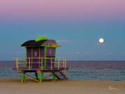 Bauhaus Photo Prints - South Beach Moon Rise II Print by Frank Boellmann