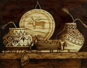 Baskets Pyrography - Southwest Baskets by Cate McCauley