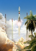 Time Off Framed Prints - Soyuz-2 Rocket Launch, Artwork Framed Print by David Ducros