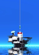 Sea Platform Digital Art Posters - Space Elevator Station, Artwork Poster by Victor Habbick Visions