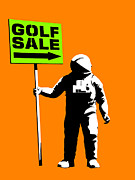 Astronauts Digital Art Posters - Space golf sale Poster by Pixel Chimp