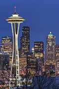 Seattle Skyline Framed Prints - Space Needle and Downtown Seattle Skyline Framed Print by Rob Tilley