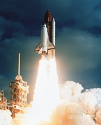 Rocket Boosters Posters - Space Shuttle Launch Poster by NASA / Science Source