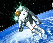 Space Art Prints - Space Walk Print by Victor Habbick Visions
