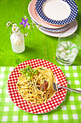 Spaghetti Noodles Photo Prints - Spaghetti al pesto Print by Joana Kruse