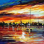 Yacht Painting Originals - Spain by Leonid Afremov
