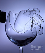 Acoustical Framed Prints - Speaker Breaking A Glass With Sound Framed Print by Ted Kinsman