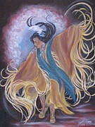 Shawl Painting Originals - Spirit Dance by Radha Flora Cloud