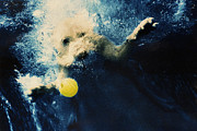 Dog Photos Posters - Splashdown Poster by Jill Reger