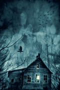 Decayed Prints - Spooky house at sunset  Print by Sandra Cunningham