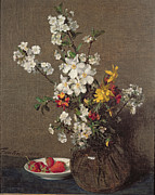 Apple-blossom Paintings - Spring Bouquet by Ignace Henri Jean Fantin-Latour
