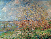 Signed Painting Prints - Spring Print by Claude Monet