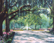 Forsythe Fountain Savannah Prints - Spring In Forsythe Park Print by Stanton D Allaben