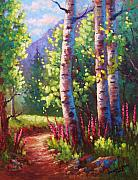 Aspen Tree Paintings - Spring Path by David G Paul