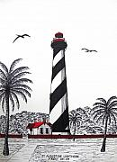 Pen And Ink Drawing Prints - St Augustine Lighthouse Christmas Card Print by Frederic Kohli