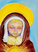 Catholic Art Painting Originals - St. Clare of Assisi by Susan  Clark