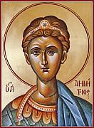 Icon Byzantine Painting Posters - St Demetrios the Great Martyr and Myrrhstreamer Poster by Julia Bridget Hayes
