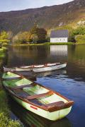 Gougane Barra Church Photo Metal Prints - St. Finbarres Oratory And Rowing Boats Metal Print by Ken Welsh
