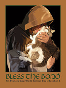 St. Francis Posters - St. Francis with Cat Poster by Kris Hackleman