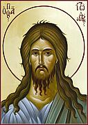 Icon Byzantine Painting Posters - St John the Forerunner Poster by Julia Bridget Hayes