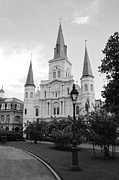 French Quarter Photos - St Louis Cathedral Jackson Square French Quarter New Orleans Black and White  by Shawn OBrien