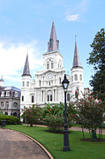 New Orleans Prints - St Louis Cathedral Jackson Square French Quarter New Orleans Film Grain Digital Art  Print by Shawn OBrien