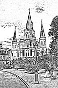 Photocopy Prints - St Louis Cathedral Jackson Square French Quarter New Orleans Photocopy Digital Art  Print by Shawn OBrien