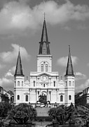 French Quarter Prints - St Louis Cathedral on Jackson Square in the French Quarter New Orleans Black and White Print by Shawn OBrien