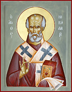 St Nicholas Of Myra Painting Posters - St Nicholas of Myra Poster by Julia Bridget Hayes