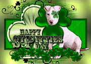 Breeds Digital Art - St Patricks - Happy St Pitties Day by Renae Frankz