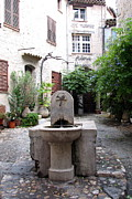 French Signs Art - St. Paul de Vence Fountain by Carla Parris
