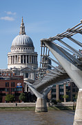 London Cityscape Posters - St Pauls and Millennium Bridge Poster by Dawn OConnor