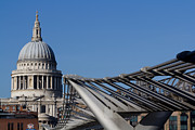 London Print Posters - St Pauls Cathedral And The Millenium Bridge  Poster by David Pyatt
