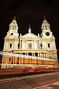 Lit Metal Prints - St. Pauls Cathedral in London at night Metal Print by Elena Elisseeva