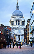 Old England Framed Prints - St. Pauls Cathedral London at dusk Framed Print by Elena Elisseeva