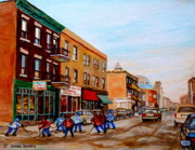 Montreal Cityscenes Paintings - St. Viateur Bagel Hockey Game by Carole Spandau