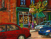 French Cities Paintings - St. Viateur Bagel Shop Montreal by Carole Spandau