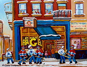 Store Fronts Posters - St. Viateur Bagel With Hockey Poster by Carole Spandau