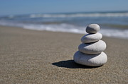 Stability Posters - Stack of pebbles on beach Poster by Sami Sarkis