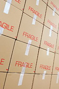 Frame House Posters - Stacks of cardboard boxes marked Fragile Poster by Sami Sarkis